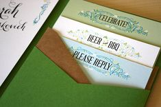 Green + Turquoise Garden Party Wedding Invitations by Mountain Paper via Oh So Beautiful Paper