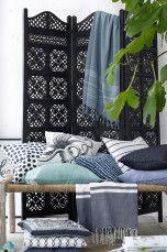 Ellos Home Skärmvägg Snidad Natur, Antikvit, Antiksvart - Klädförvaring |          Ellos Mobile