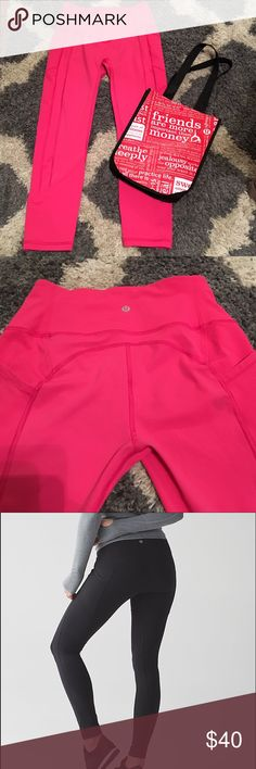 "Lululemon hot pink leggings ""All the Right Places"" style women's leggings. Was a Christmas gift last year and I just prefer darker bottoms. Washed and dried once. Perfect condition. I don't think this color is still available. Amazing quality of course. Steal for anyone who loves this brand and a pop of pink! lululemon athletica Pants Leggings"