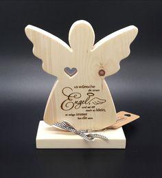 Wunderschöner Zirbenholz Engel, mit folgenden Spruch: Ich wünsche dir einen Engel, und sei er noch so klein, er möge immer bei dir sein Größe ca. 20x16cm