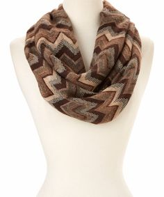 Look at this Jasmine Brown Chevron Infinity Scarf on #zulily today!