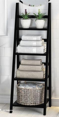 Legend Big DIY Bathroom Storage Ideas # Storage Ideas # bathroom # tool - DIY Home Decor Bathroom Towel Storage, Bathroom Towels, Vanity Bathroom, Towel Rack Bathroom, Storage Ideas For Bathroom, Bathroom Ladder, Bathroom Canvas, Diy Bathroom Shelving, Bathroom Faucets