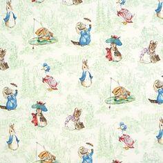 Tales of Beatrix Potter Green Fabric