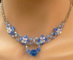 Edle Perlen Halskette in silber blau mit Rocailles von Schmucktruhe