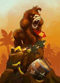 Tibute Nintendo - Donkey Kong Fanart by zecarlos on DeviantArt Retro Video Games, Video Game Art, Mtg Sleeves, Fan Art, Viewtiful Joe, Diddy Kong, Geek Party, Donkey Kong Country, Gaming Wallpapers