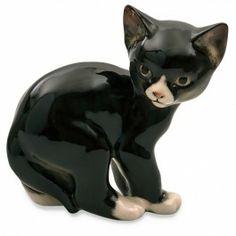 Russian Porcelain Black Cat Figurine