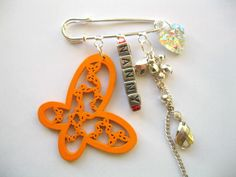 Personalised Nanny Brooch butterfly Clip Bag Charm Silver Pin Sparkly Charms £4.00