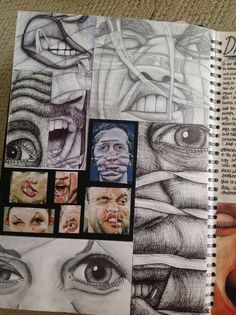 A level art sketchbook layout, sketching, sketchbook inspiration, sketchboo A-level Kunst, Art Sketches, Art Drawings, Simple Sketches, Gcse Art Sketchbook, A Level Art Sketchbook Layout, Sketching, Ap Studio Art, Sketchbook Inspiration