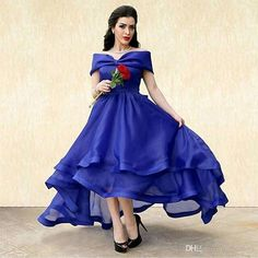 Royal Blue Arabic Tea Length Prom Dresses 2016 A Line Off Shoulder Tiered Skirt Plus Size Middle East Cheap Formal Evening Party Gown Cheap Evening Dresses Royal Blue Prom Dresses Sexy Prom Dresses Online with $164.58/Piece on In_marry's Store | DHgate.com