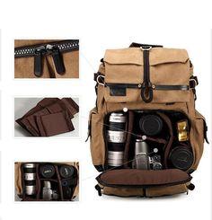 Laptop Backpack DSLR Camera Safari Bag Shoulders Canvas Ipad Bag Travel Backpack 1231 #Photography