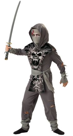 Halloween is your chance to show your fun side. Let it shine through for everyone to see with the Zombie Ninja Boy's Costume. Don't forget to check out our Halloween shop for all the accessories, props, outfits, and decorations you'll need for a hauntingly fun Halloween. Includes tunic, pants, apron with hood, mask, and belt. Does not include makeup, shoes, or sword. Costume sizes vary by manufacturer. Please refer to the sizing chart to ensure you order the correct fit.