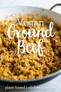 This vegan ground beef can be used in so many dishes! Vegan tacos, spaghetti sauce, vegan meatloaf, the list goes on and on. Plant-based, oil-free, gluten-free, nut-free, yet FULL of flavor, texture, and nutrition!