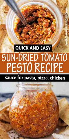 Quick and easy Sun-dried tomato pesto recipe works as a perfect sauce for pasta, pizza and chicken. Simple recipe that  takes only minutes to make. #pestorecipes @sweetcaramelsunday