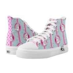 Kawaii inspired unicorn polka dots sneakers ($110) ❤ liked on Polyvore featuring shoes, sneakers, spot shoes, polka dot sneakers, polka dot shoes, print sneakers and pink shoes