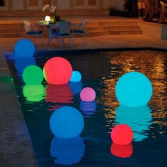 Led color changing glow balls in 2019 pool led, lampy, googl Above Ground Pool, In Ground Pools, Led Neon, Led Color, Deck Lighting, Lighting Ideas, Event Lighting, Landscape Lighting, Festa Party