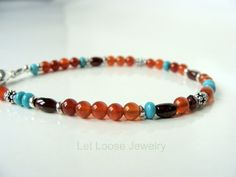 Gemstone bracelet mixed genuine stones by LetLooseJewelry on Etsy