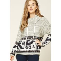 Forever21 Drawstring Funnel Neck Sweater ($28) ❤ liked on Polyvore featuring tops, sweaters, long tops, long white sweater, oversized sweaters, oversized white sweater and long oversized sweaters