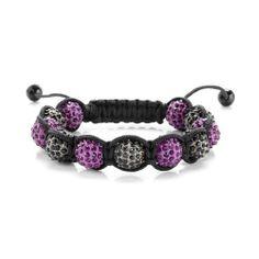 Shamballa Disco Ball Macrame Buddhist Bracelet Black & Purple Iced Out Swarvoski Bling The Bling King. $19.95
