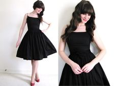 Black Dress / Dress / Dress by Coldfish on Etsy, Pretty Outfits, Pretty Dresses, Beautiful Outfits, Cute Outfits, 50s Dresses, Vintage Dresses, Vintage Outfits, Vintage Fashion, Fashion Mode
