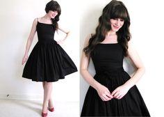 Robe noire de 50 s / 50 s robe / robe des années 50 par Coldfish, $138.00