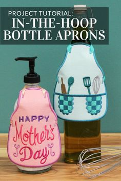 Dress up bottles of wine, olive oil, dish soap, and more with charming in-the-hoop bottle aprons from Embroidery Library.