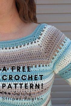 crochet tunic pattern Free Crochet Pattern - The Spring Stripes Raglan Crochet Tunic Pattern, Gilet Crochet, Crochet Blouse, Knit Crochet, Knitting Patterns, Crochet Tops, Crochet Sweaters, Crochet Womens Tops, Free Crochet Sweater Patterns