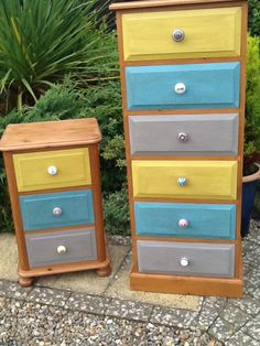 My fantastic upcycled chests of draws, with mismatched doorknobs! Chest Of Draws, Door Knobs, Upcycle, Cycling, Bedroom, Drawings, Boys, Furniture, Ideas