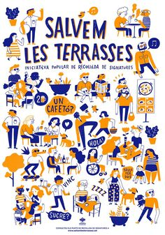 Salvem les terraces on Behance Simple Illustration, Graphic Design Illustration, Character Drawing, Character Design, Graphisches Design, Cover Design, Posca, Art Graphique, Illustrations And Posters
