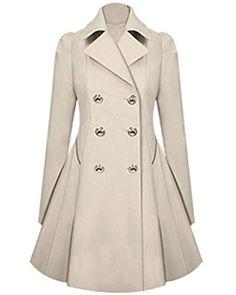Transer Fashion Women Long Parka Coat Lapel Neck Outwear Winter Warm Trench Jacket Coats