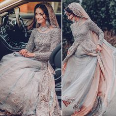 Pakistani bride in gray and pink lehenga Asian Wedding Dress, Pakistani Wedding Outfits, Pakistani Bridal Dresses, Pakistani Wedding Dresses, Bridal Outfits, Indian Dresses, Indian Outfits, Pakistani Wedding Hairstyles, Asian Bridal Dresses