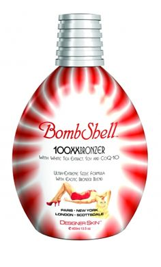 """Designer Skin's Bombshell: Enriched with White Tea Extract, Soy and CoQ-10, this """"Ultra-extreme"""" sizzle formula yields unsurpassed tanning results  Bask in the sensuous pleasure of this radiant bronzer blend while its exhilarating fragrance envelops you"""