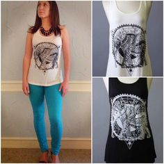 Don't miss this fun elephant tank! It comes in black or white and sizes small, med, & large