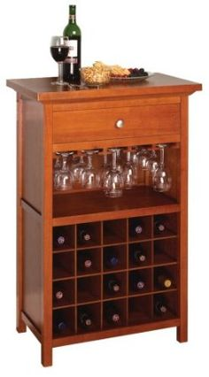 $160 AmazonSmile - Winsome Wood Wine Cabinet with Drawer and Glass Holder, Walnut - Free Standing Wine Racks