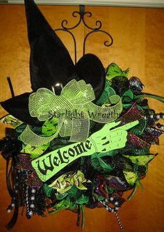 Welcome Witch Mesh Wreath with Hat and by StarlightWreaths on Etsy