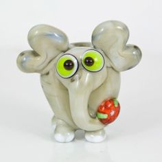 Gray Elephant Lampwork Glass Bead  flower by maybeads on Etsy, $19.00