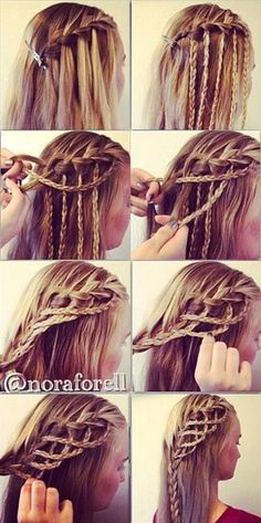 Waterfall braid then weave