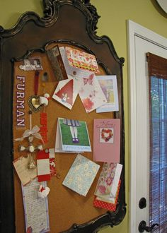 Very cool idea for a bulletin board using a pretty frame and rolled cork.