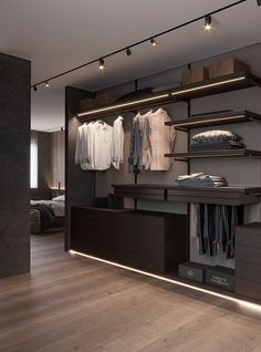 Brit Apartment on Behance Bedroom Closet Design, Home Room Design, Closet Designs, Home Interior Design, Boutique Interior, Luxury Homes Interior, Urban Apartment, Apartment Interior, Modern Closet