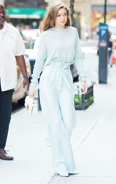 Gigi Hadid just wore the one colour that's all over Zara right now, sea foam green. Click here to see and shop her look.