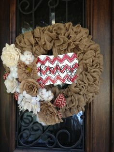 Burlap wreath with chevron name in middle