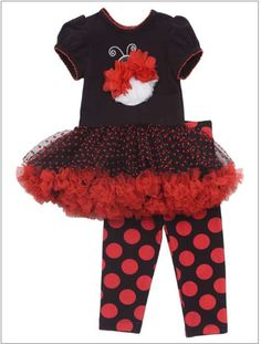 31b151c18 Rare Editions Girls Ladybug Tutu Top and Legging Set