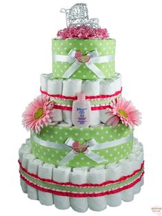 Our Beautiful Baby Carriage Diaper Cake is the perfect centerpiece for your stylish baby shower.  The white wire baby carriage on top will fit in with just about any theme and the adorning flowers and decorations add to this cake's fashionable ambiance.  As a gift or a centerpiece, this classic diaper cake design will surely be the cat's meow!   http://www.rattlecake.com/diaper-cakes/beautiful-baby-carriage-diaper-cake-4-tier.html  $129