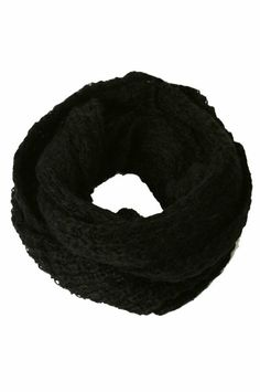 Winter Scarf - Knitted Winter Loose Round Scarf 2 (Black)