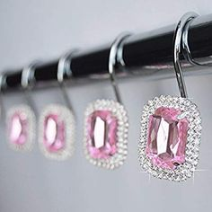 Bling Bathroom, Bathroom Bath, Bathrooms, Bathroom Ideas, Shower Curtain Rings, Shower Curtains, Curtains With Rings, Girl Decor, Pink Ring
