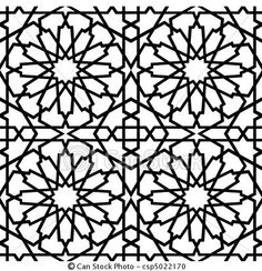 Vector - Islamic Star Tile BW - stock illustration, royalty free illustrations, stock clip art icon, stock clipart icons, logo, line art, EPS picture, pictures, graphic, graphics, drawing, drawings, vector image, artwork, EPS vector art