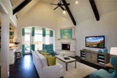Highland Homes | Lawler Park 65s | Living Room | Frisco, TX | Plan 794