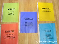 """Make simple """"sorting cards"""" to help you make piles when trying to de-clutter and organize a room. @OrganizewithSandy recommends"""