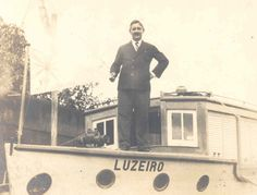 André Gedrath na Lancha Luzeiro I.