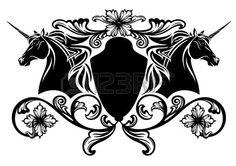 unicorn horses heraldic emblem - black and white vector design Stock Vector - 25250558