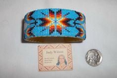 Native American Navajo Handmade Beaded Star Leather Cuff Bracelet Judy Wilson #Handmade #Beadwork #Navajo